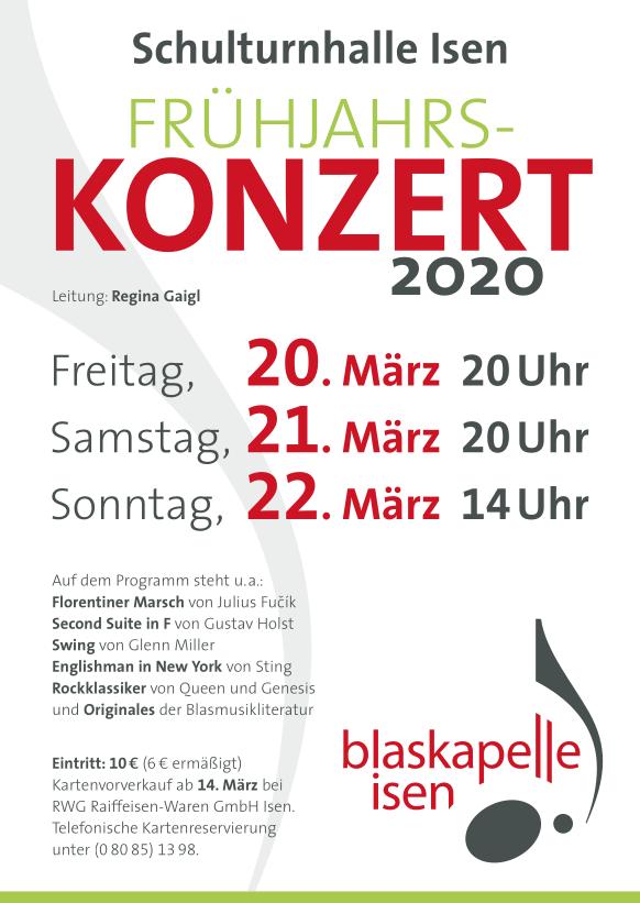 Blaskapelle Isen Frühjahrskonzert 2020