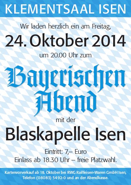 Bayerischer Abend - 24. Oktober 2014
